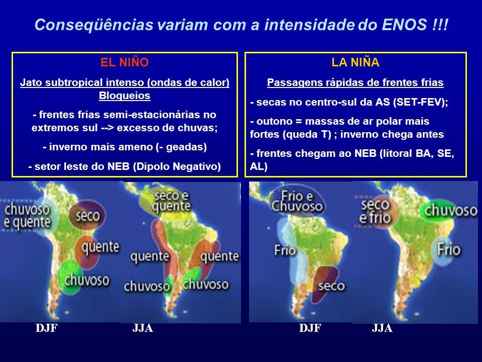 DJF JJA LA NIÑA Passagens rápidas de frentes frias - secas no centro-sul da AS (SET-FEV); - outono = massas de ar polar mais fortes (queda T) ; invern