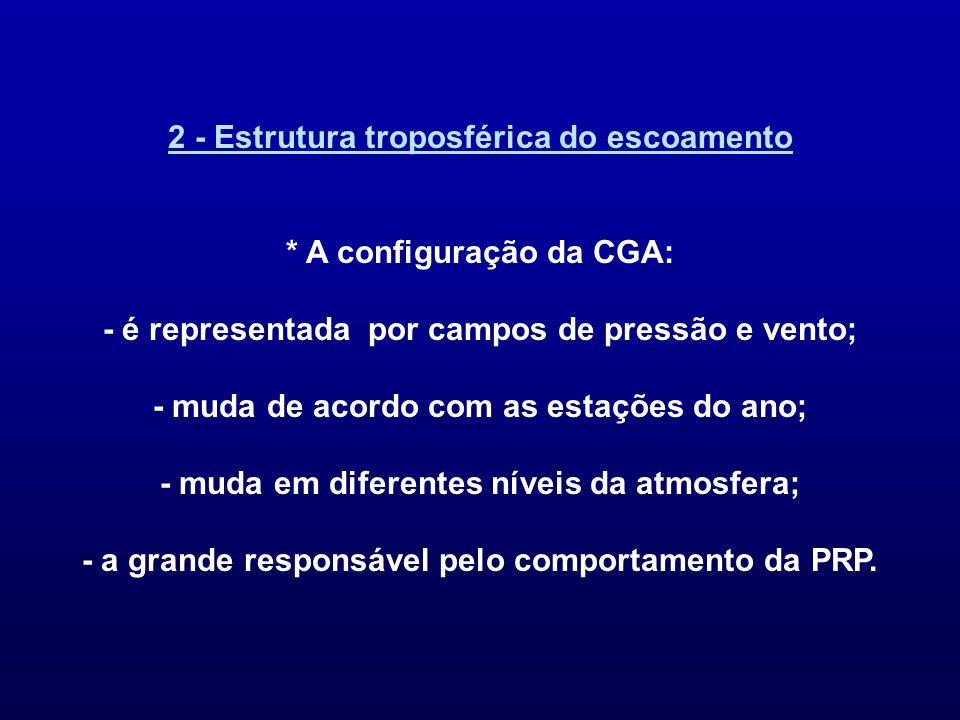 2 - Estrutura troposférica do escoamento * A configuração da CGA: - é representada por campos de pressão e vento; - muda de acordo com as estações do