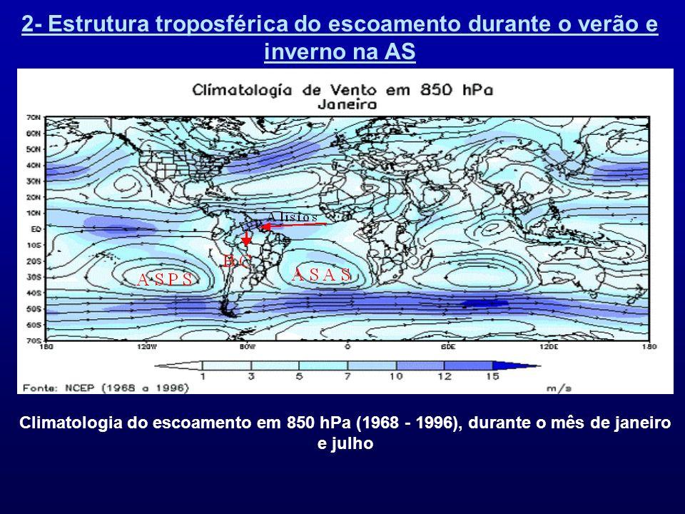 2- Estrutura troposférica do escoamento durante o verão e inverno na AS Climatologia do escoamento em 850 hPa (1968 - 1996), durante o mês de janeiro