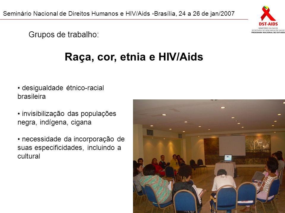Seminário Nacional de Direitos Humanos e HIV/Aids -Brasília, 24 a 26 de jan/2007 Raça, cor, etnia e HIV/Aids desigualdade étnico-racial brasileira invisibilização das populações negra, indígena, cigana necessidade da incorporação de suas especificidades, incluindo a cultural Grupos de trabalho: