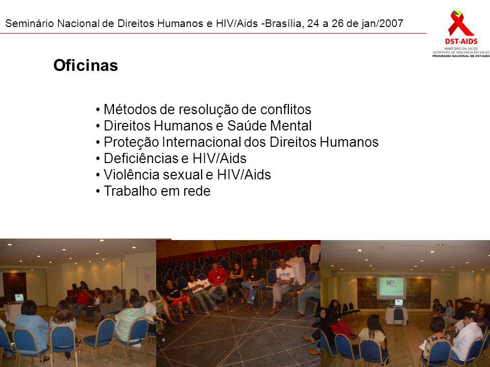 Seminário Nacional de Direitos Humanos e HIV/Aids -Brasília, 24 a 26 de jan/2007 Oficinas Métodos de resolução de conflitos Direitos Humanos e Saúde Mental Proteção Internacional dos Direitos Humanos Deficiências e HIV/Aids Violência sexual e HIV/Aids Trabalho em rede