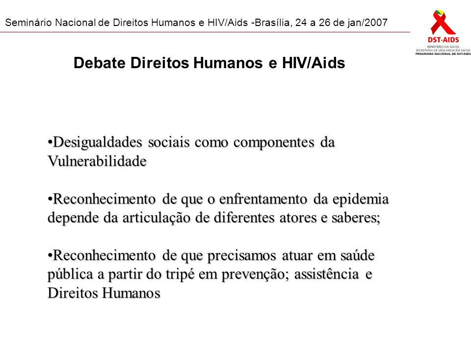 Seminário Nacional de Direitos Humanos e HIV/Aids -Brasília, 24 a 26 de jan/2007 Grupos por Região A imensidão territorial do Brasil, com sua diversidade de realidade social, econômica, cultural e étnico-racial trazem a importância do respeito às especificidades regionais para a construção de políticas.