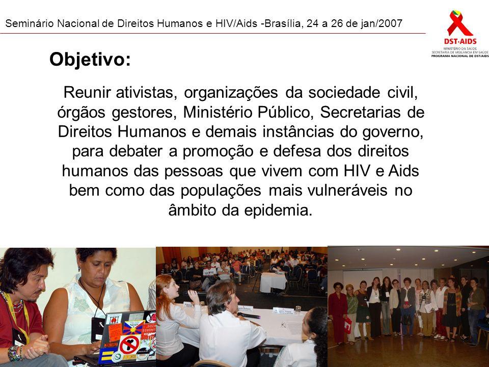 Formato: Grupos de trabalho Oficinas Painéis Seminário Nacional de Direitos Humanos e HIV/Aids -Brasília, 24 a 26 de jan/2007