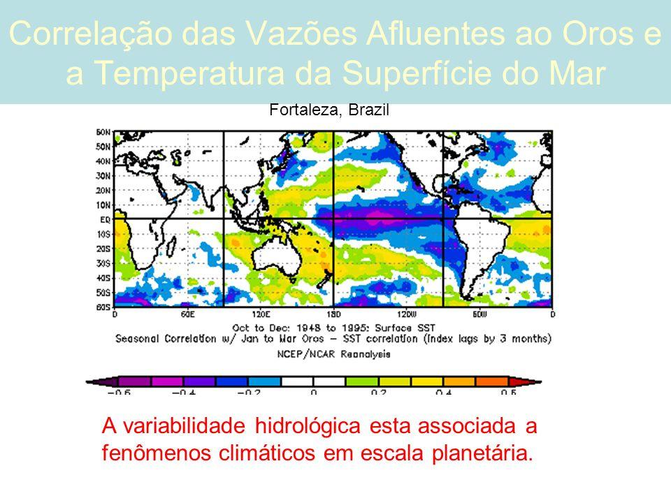 Correlação das Vazões Afluentes ao Oros e a Temperatura da Superfície do Mar A variabilidade hidrológica esta associada a fenômenos climáticos em escala planetária.