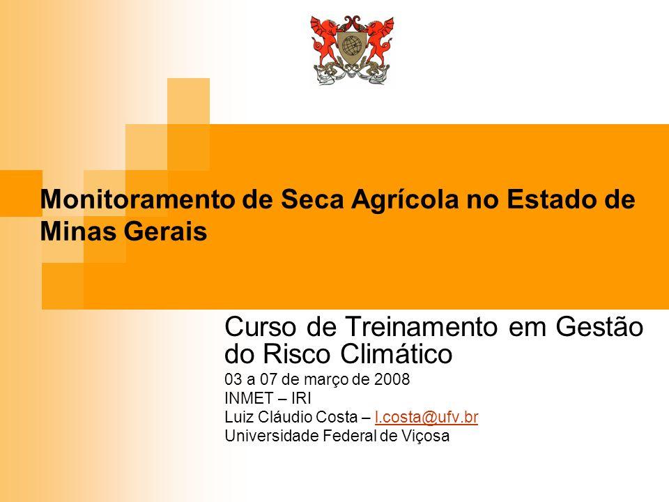 Monitoramento de Seca Agrícola no Estado de Minas Gerais Curso de Treinamento em Gestão do Risco Climático 03 a 07 de março de 2008 INMET – IRI Luiz C