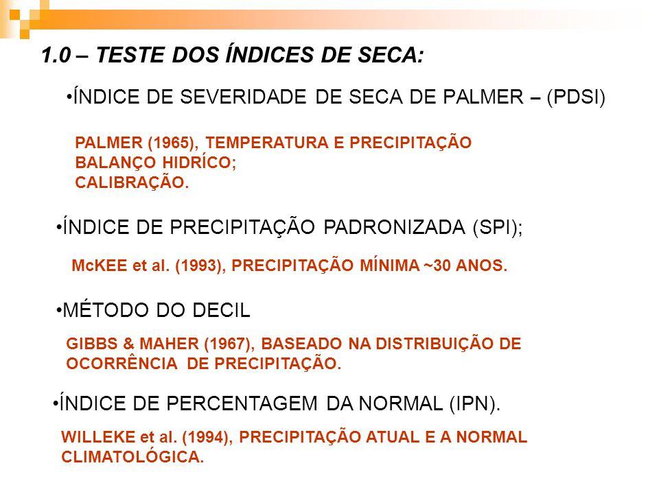 ÍNDICE DE SEVERIDADE DE SECA DE PALMER – (PDSI) 1.0 – TESTE DOS ÍNDICES DE SECA: PALMER (1965), TEMPERATURA E PRECIPITAÇÃO BALANÇO HIDRÍCO; CALIBRAÇÃO