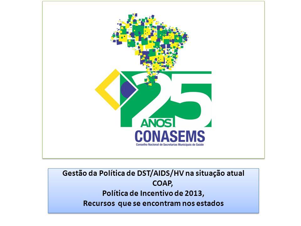 Gestão da Política de DST/AIDS/HV na situação atual COAP, Política de Incentivo de 2013, Recursos que se encontram nos estados Gestão da Política de D