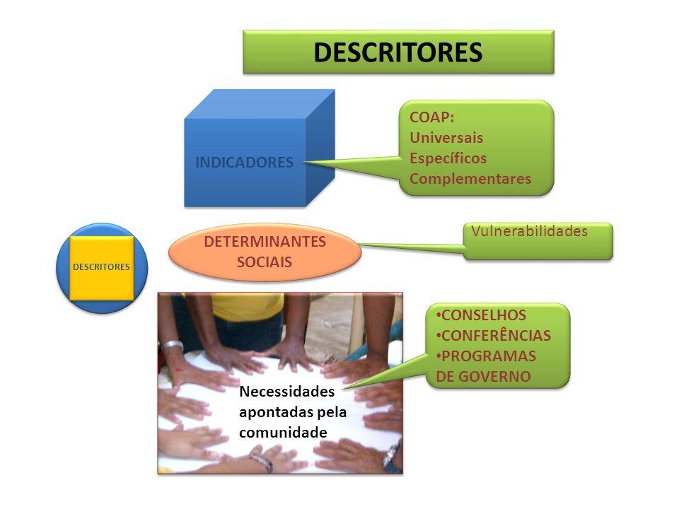 DESCRITORES INDICADORES Necessidades apontadas pela comunidade COAP: Universais Específicos Complementares COAP: Universais Específicos Complementares