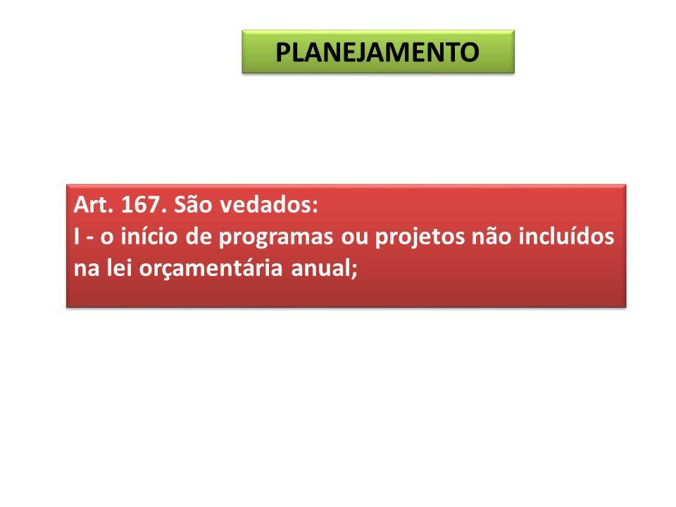 Art. 167. São vedados: I - o início de programas ou projetos não incluídos na lei orçamentária anual; Art. 167. São vedados: I - o início de programas