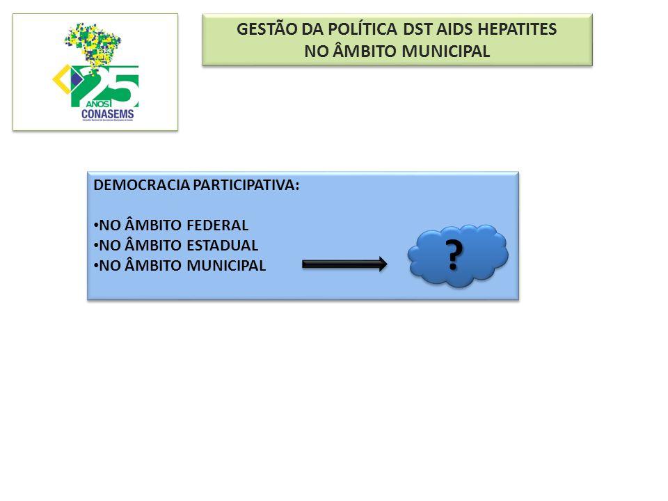 GESTÃO DA POLÍTICA DST AIDS HEPATITES NO ÂMBITO MUNICIPAL GESTÃO DA POLÍTICA DST AIDS HEPATITES NO ÂMBITO MUNICIPAL DEMOCRACIA PARTICIPATIVA: NO ÂMBIT