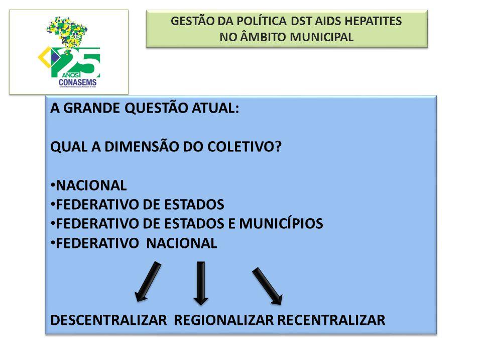GESTÃO DA POLÍTICA DST AIDS HEPATITES NO ÂMBITO MUNICIPAL GESTÃO DA POLÍTICA DST AIDS HEPATITES NO ÂMBITO MUNICIPAL A GRANDE QUESTÃO ATUAL: QUAL A DIM