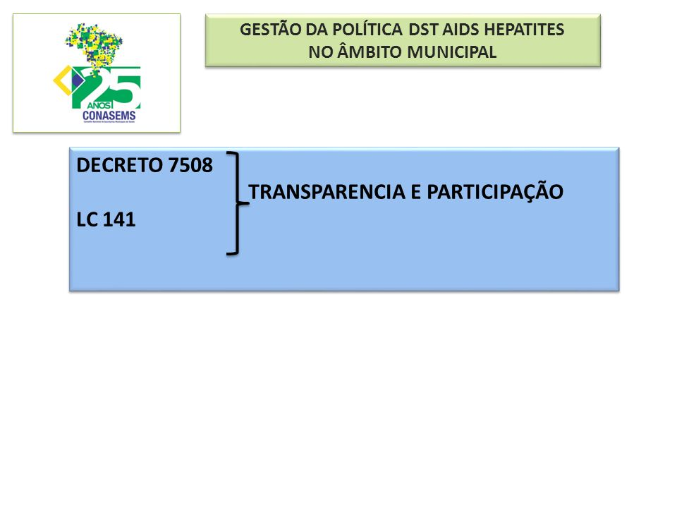GESTÃO DA POLÍTICA DST AIDS HEPATITES NO ÂMBITO MUNICIPAL GESTÃO DA POLÍTICA DST AIDS HEPATITES NO ÂMBITO MUNICIPAL DECRETO 7508 TRANSPARENCIA E PARTI