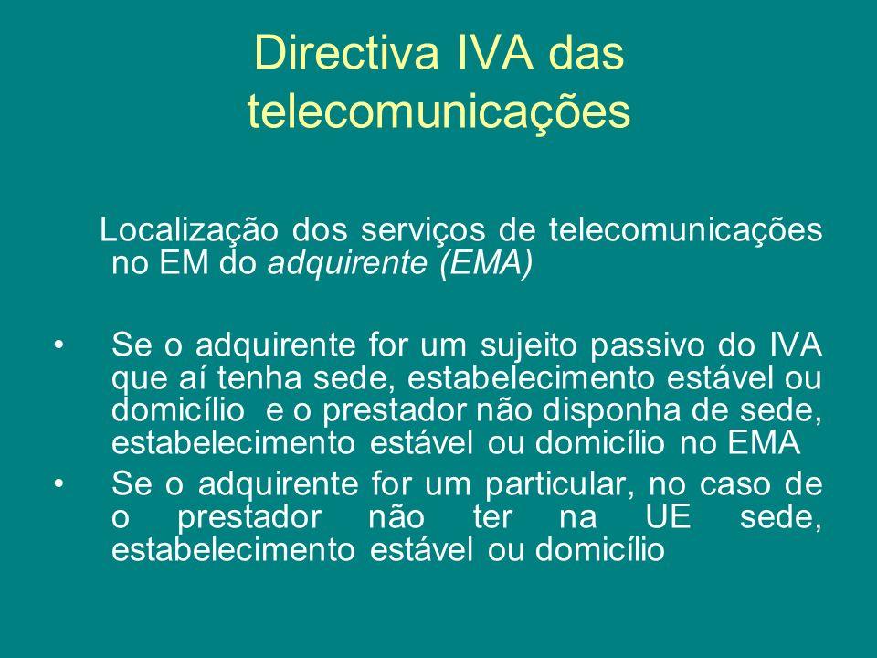 Directiva IVA das telecomunicações Localização dos serviços de telecomunicações no EM do adquirente (EMA) Se o adquirente for um sujeito passivo do IV