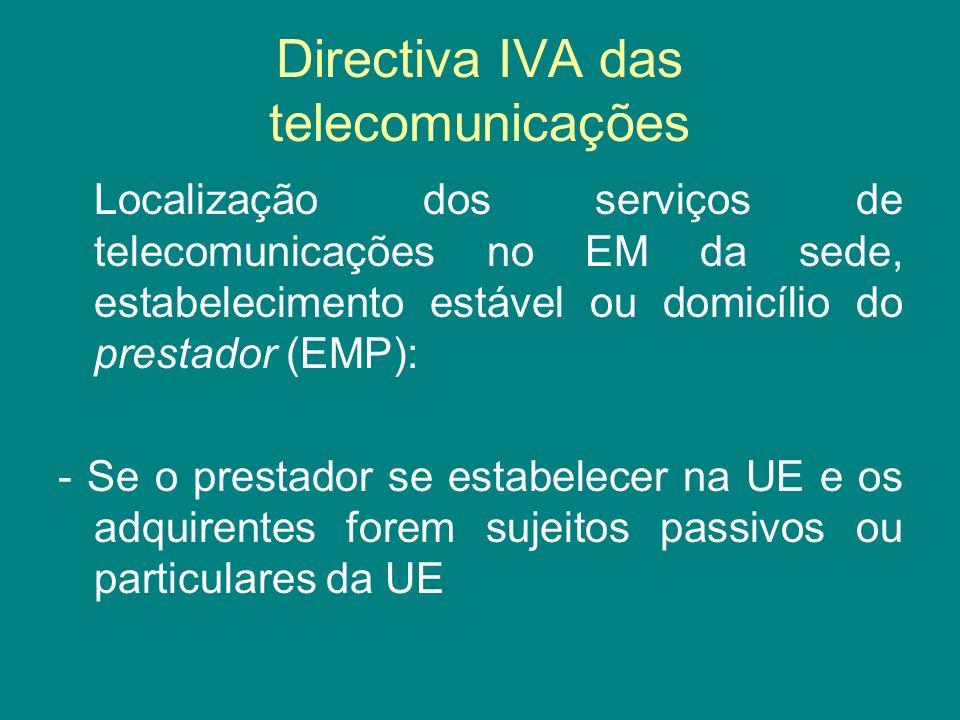 Directiva IVA das telecomunicações Localização dos serviços de telecomunicações no EM da sede, estabelecimento estável ou domicílio do prestador (EMP)