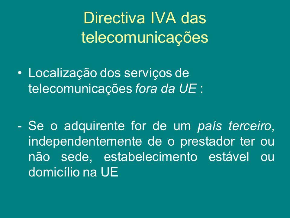 Directiva IVA das telecomunicações Localização dos serviços de telecomunicações fora da UE : - Se o adquirente for de um país terceiro, independenteme