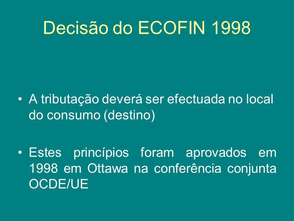 Decisão do ECOFIN 1998 A tributação deverá ser efectuada no local do consumo (destino) Estes princípios foram aprovados em 1998 em Ottawa na conferênc