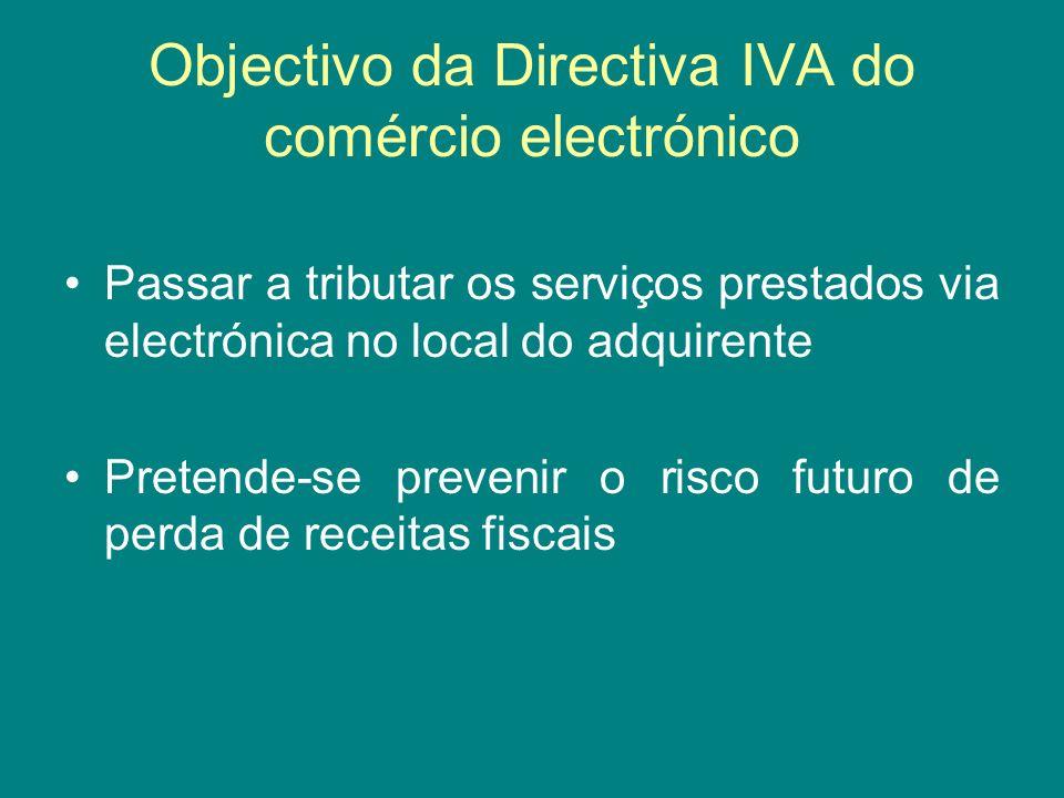 Objectivo da Directiva IVA do comércio electrónico Passar a tributar os serviços prestados via electrónica no local do adquirente Pretende-se prevenir