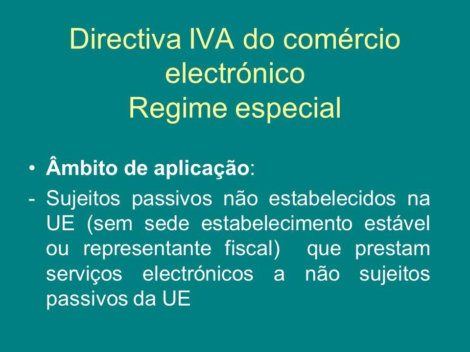 Directiva IVA do comércio electrónico Regime especial Âmbito de aplicação: - Sujeitos passivos não estabelecidos na UE (sem sede estabelecimento estáv