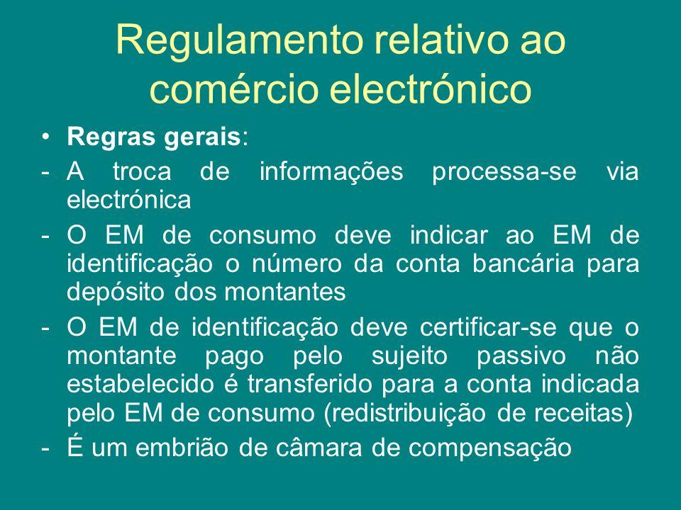 Regulamento relativo ao comércio electrónico Regras gerais: -A troca de informações processa-se via electrónica -O EM de consumo deve indicar ao EM de