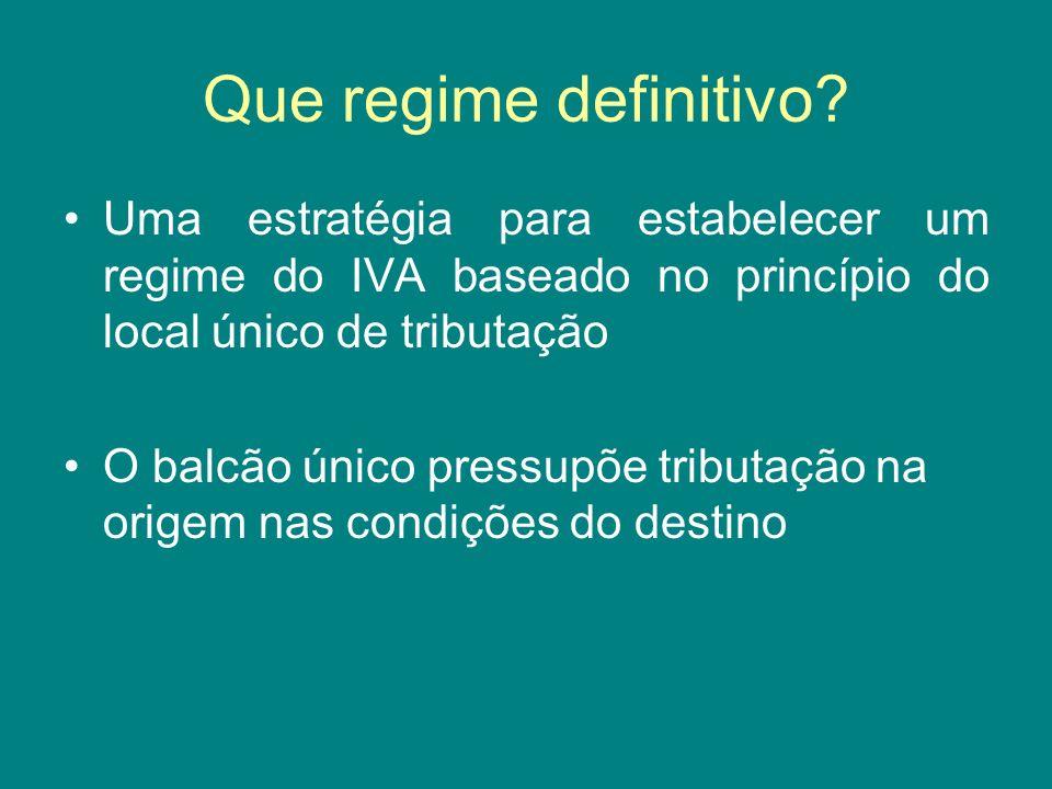 Que regime definitivo? Uma estratégia para estabelecer um regime do IVA baseado no princípio do local único de tributação O balcão único pressupõe tri