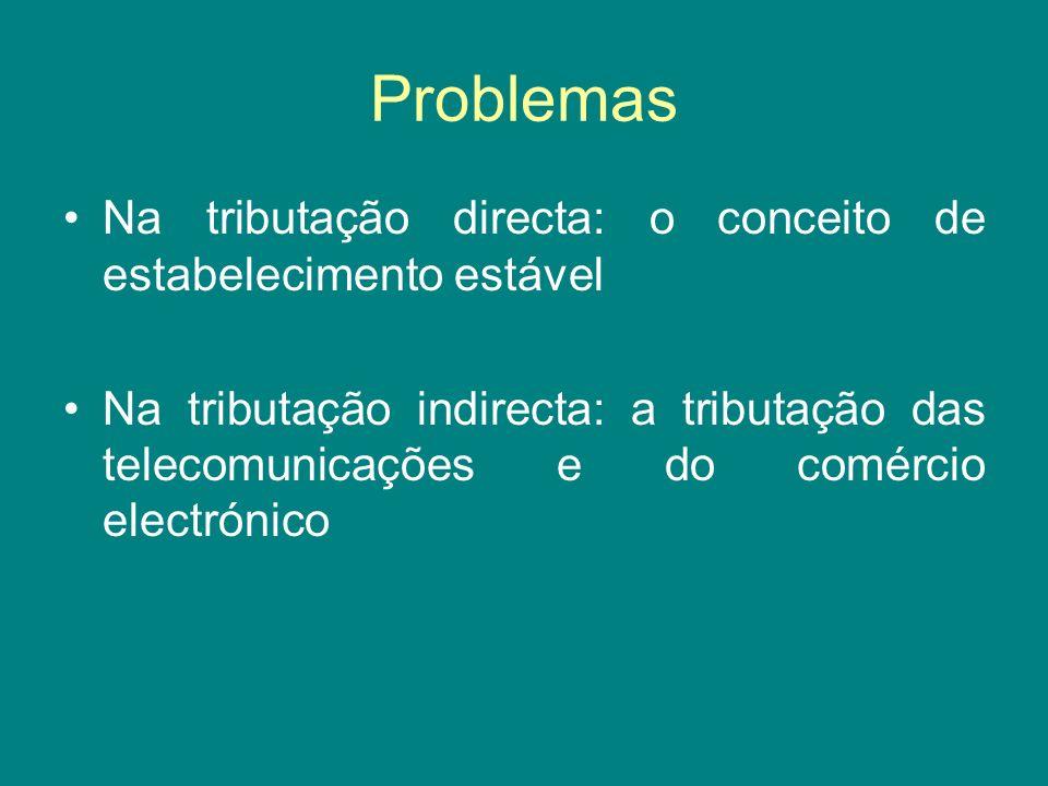 Problemas Na tributação directa: o conceito de estabelecimento estável Na tributação indirecta: a tributação das telecomunicações e do comércio electr