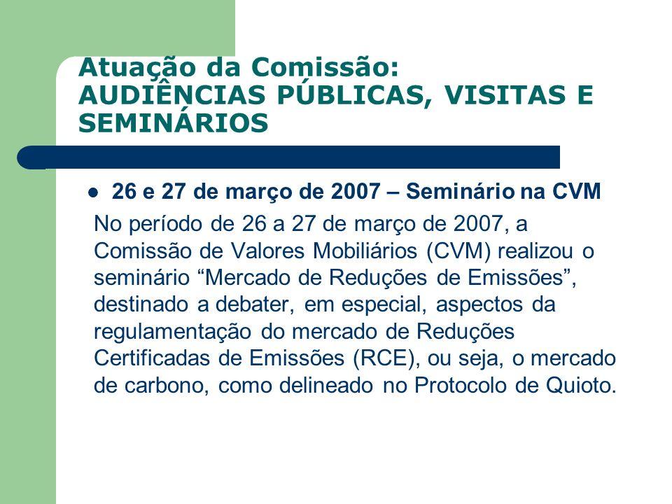 Atuação da Comissão: AUDIÊNCIAS PÚBLICAS, VISITAS E SEMINÁRIOS 26 e 27 de março de 2007 – Seminário na CVM No período de 26 a 27 de março de 2007, a C