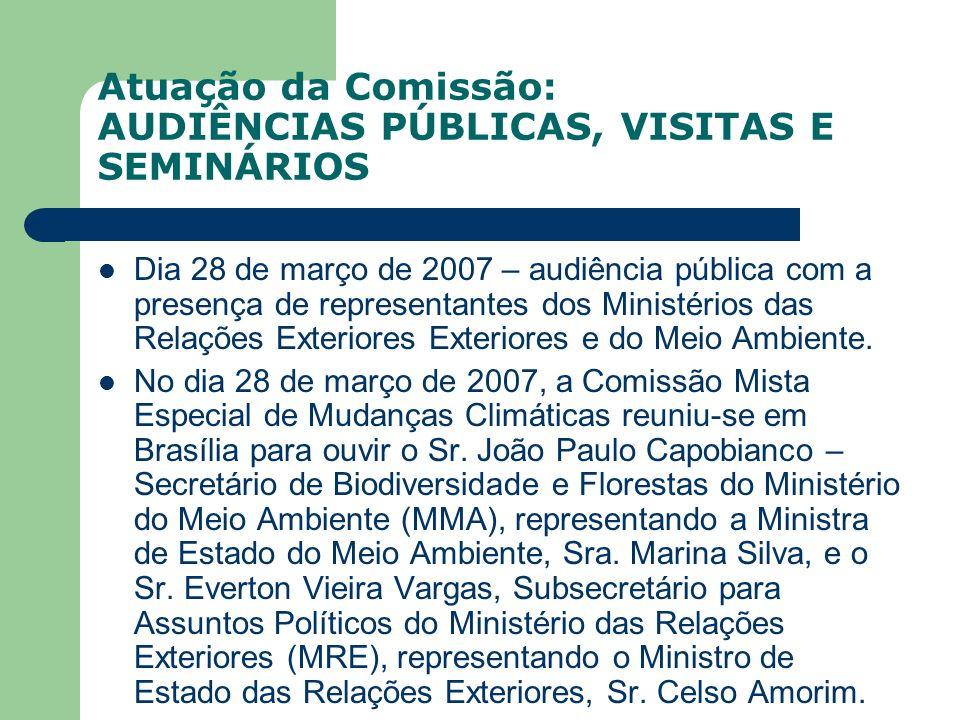 Atuação da Comissão: AUDIÊNCIAS PÚBLICAS, VISITAS E SEMINÁRIOS Dia 28 de março de 2007 – audiência pública com a presença de representantes dos Minist