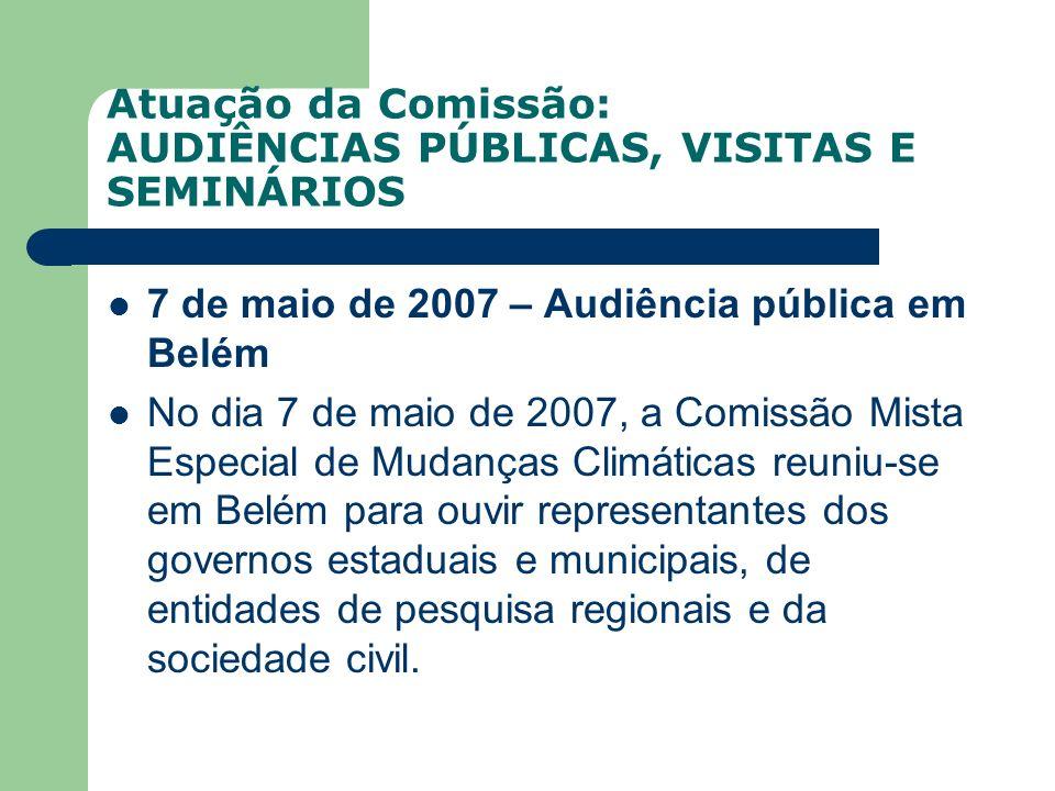 Atuação da Comissão: AUDIÊNCIAS PÚBLICAS, VISITAS E SEMINÁRIOS 7 de maio de 2007 – Audiência pública em Belém No dia 7 de maio de 2007, a Comissão Mis