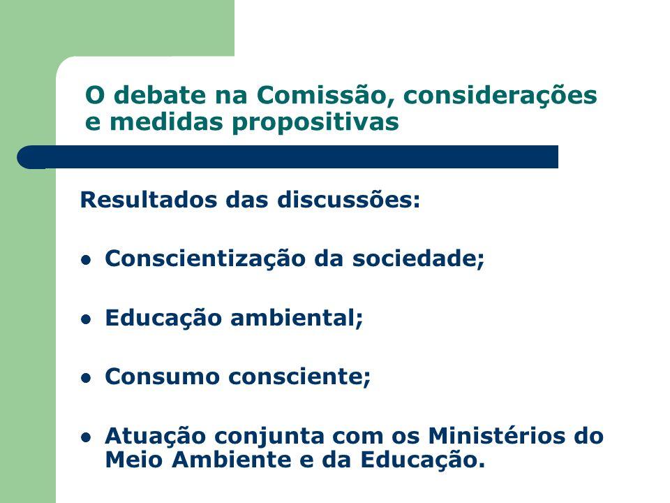 O debate na Comissão, considerações e medidas propositivas Resultados das discussões: Conscientização da sociedade; Educação ambiental; Consumo consci