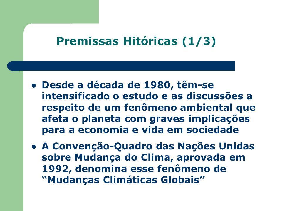 Premissas Hitóricas (1/3) Desde a década de 1980, têm-se intensificado o estudo e as discussões a respeito de um fenômeno ambiental que afeta o planet