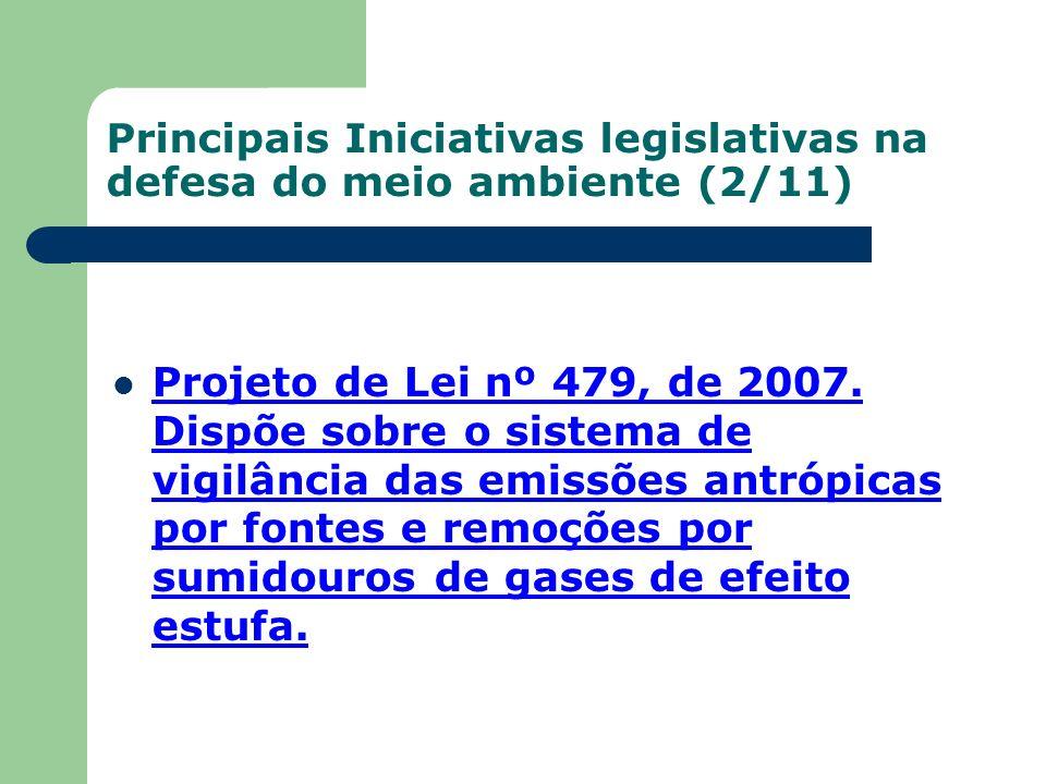 Principais Iniciativas legislativas na defesa do meio ambiente (2/11) Projeto de Lei nº 479, de 2007. Dispõe sobre o sistema de vigilância das emissõe
