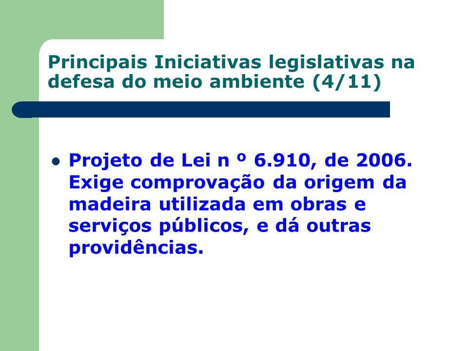 Principais Iniciativas legislativas na defesa do meio ambiente (4/11) Projeto de Lei n º 6.910, de 2006. Exige comprovação da origem da madeira utiliz
