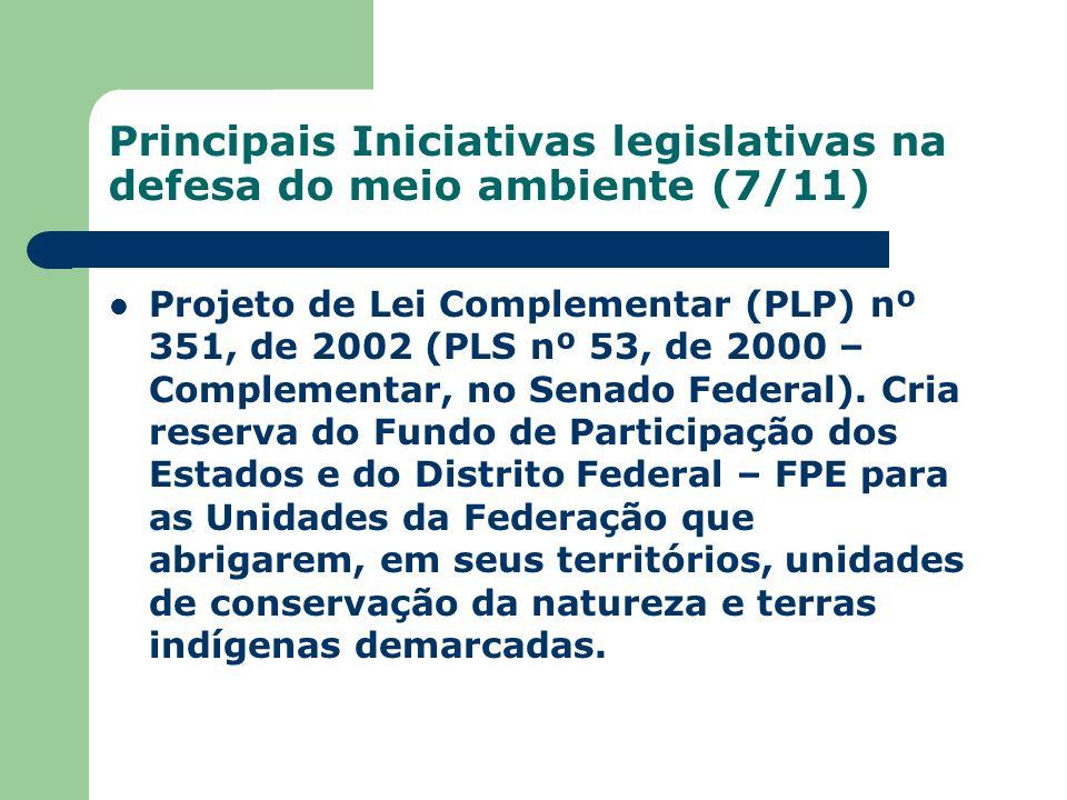 Principais Iniciativas legislativas na defesa do meio ambiente (7/11) Projeto de Lei Complementar (PLP) nº 351, de 2002 (PLS nº 53, de 2000 – Compleme