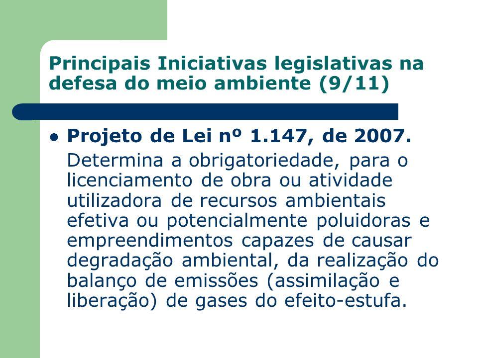 Principais Iniciativas legislativas na defesa do meio ambiente (9/11) Projeto de Lei nº 1.147, de 2007. Determina a obrigatoriedade, para o licenciame