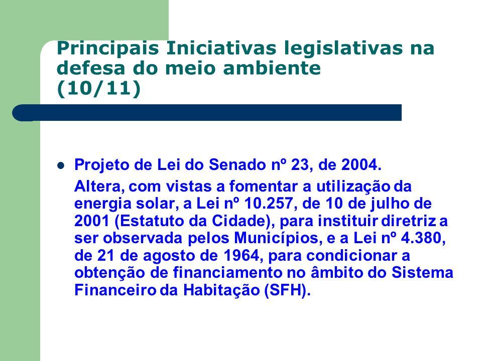Principais Iniciativas legislativas na defesa do meio ambiente (10/11) Projeto de Lei do Senado nº 23, de 2004. Altera, com vistas a fomentar a utiliz
