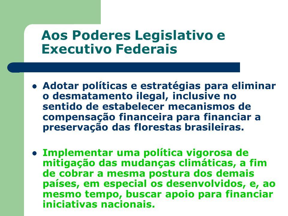 Aos Poderes Legislativo e Executivo Federais Adotar políticas e estratégias para eliminar o desmatamento ilegal, inclusive no sentido de estabelecer m