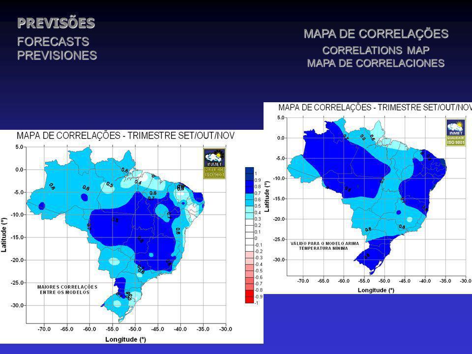 PREVISÕESFORECASTSPREVISIONES MAPA DE CORRELAÇÕES CORRELATIONS MAP MAPA DE CORRELACIONES