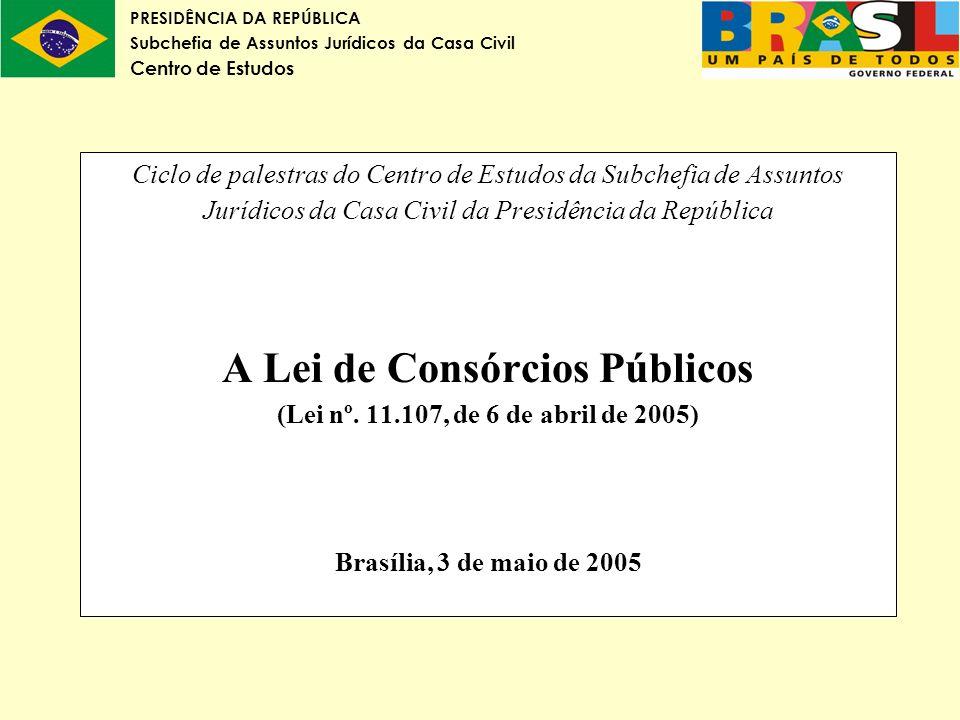 PRESIDÊNCIA DA REPÚBLICA Subchefia de Assuntos Jurídicos da Casa Civil Centro de Estudos Ciclo de palestras do Centro de Estudos da Subchefia de Assun