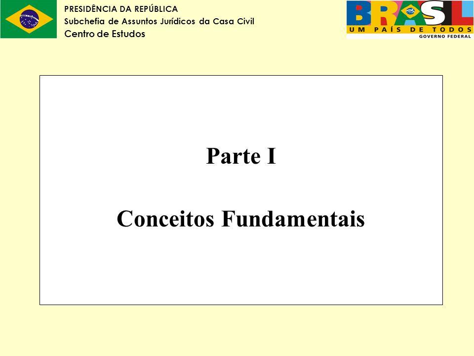 PRESIDÊNCIA DA REPÚBLICA Subchefia de Assuntos Jurídicos da Casa Civil Centro de Estudos Parte I Conceitos Fundamentais
