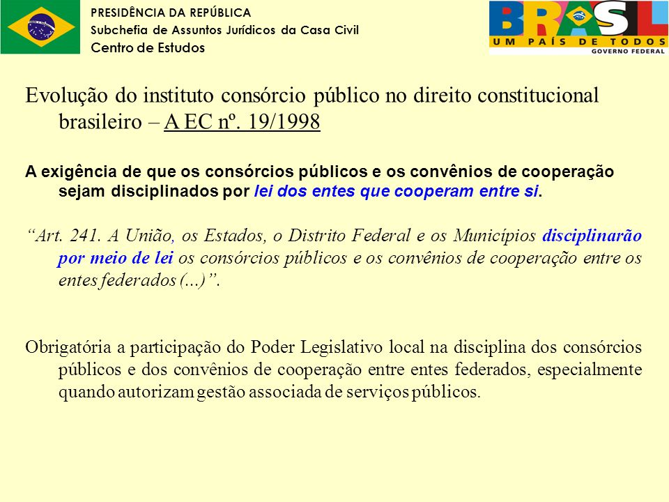 PRESIDÊNCIA DA REPÚBLICA Subchefia de Assuntos Jurídicos da Casa Civil Centro de Estudos Evolução do instituto consórcio público no direito constituci