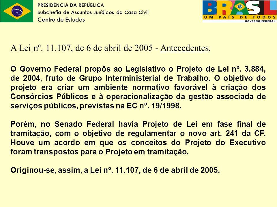 PRESIDÊNCIA DA REPÚBLICA Subchefia de Assuntos Jurídicos da Casa Civil Centro de Estudos A Lei nº. 11.107, de 6 de abril de 2005 - Antecedentes. O Gov