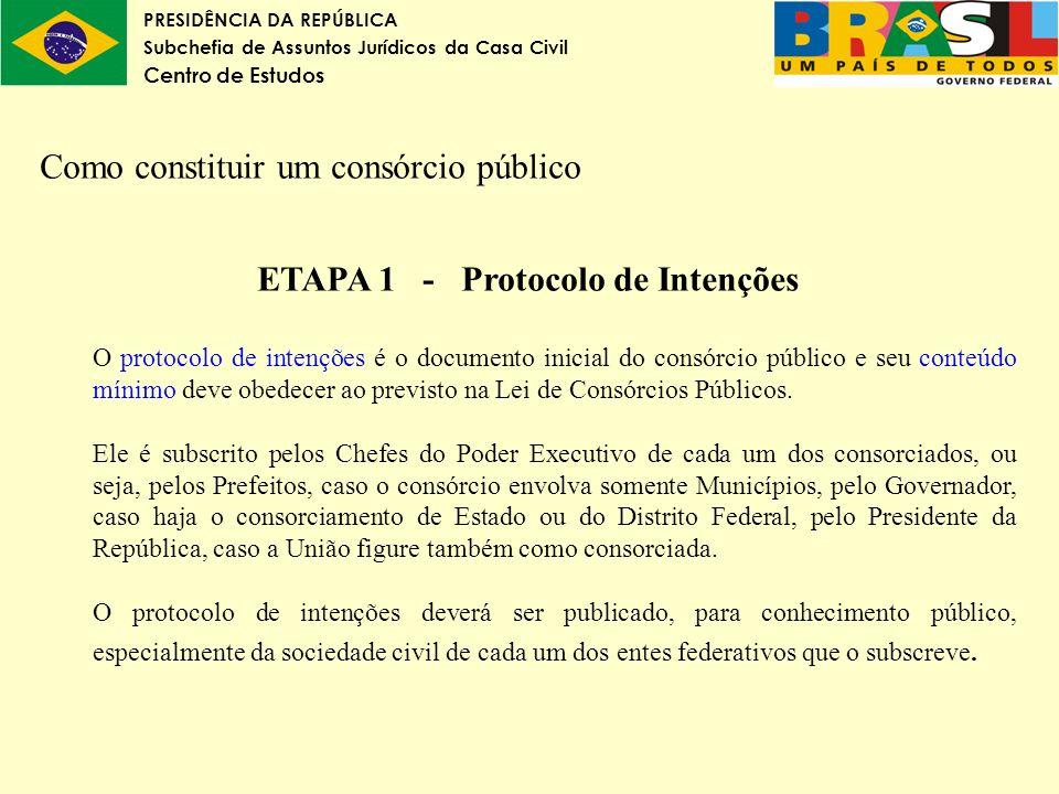 PRESIDÊNCIA DA REPÚBLICA Subchefia de Assuntos Jurídicos da Casa Civil Centro de Estudos Como constituir um consórcio público ETAPA 1 - Protocolo de I