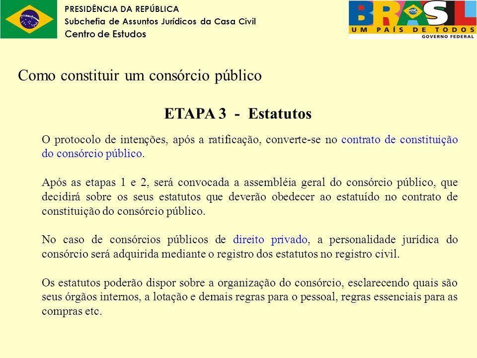 PRESIDÊNCIA DA REPÚBLICA Subchefia de Assuntos Jurídicos da Casa Civil Centro de Estudos Como constituir um consórcio público ETAPA 3 - Estatutos O pr