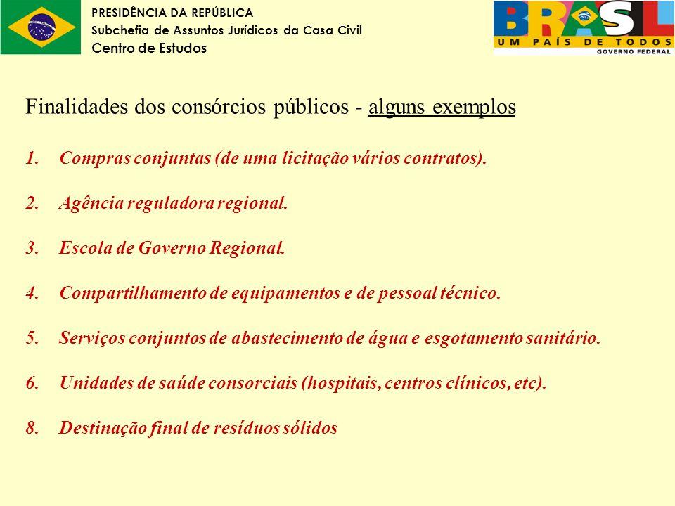 PRESIDÊNCIA DA REPÚBLICA Subchefia de Assuntos Jurídicos da Casa Civil Centro de Estudos Finalidades dos consórcios públicos - alguns exemplos 1.Compr