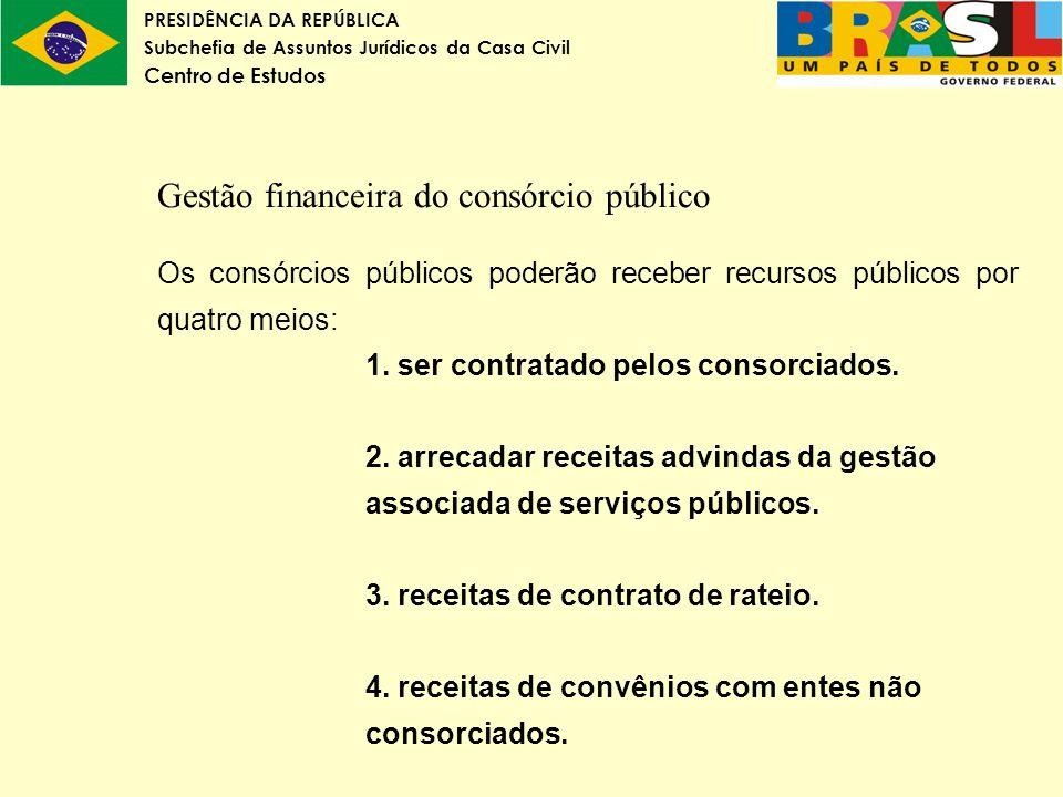 PRESIDÊNCIA DA REPÚBLICA Subchefia de Assuntos Jurídicos da Casa Civil Centro de Estudos Gestão financeira do consórcio público Os consórcios públicos