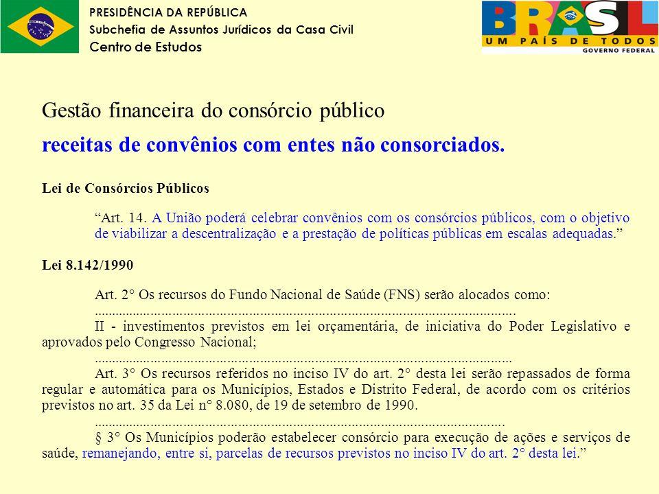PRESIDÊNCIA DA REPÚBLICA Subchefia de Assuntos Jurídicos da Casa Civil Centro de Estudos Gestão financeira do consórcio público receitas de convênios