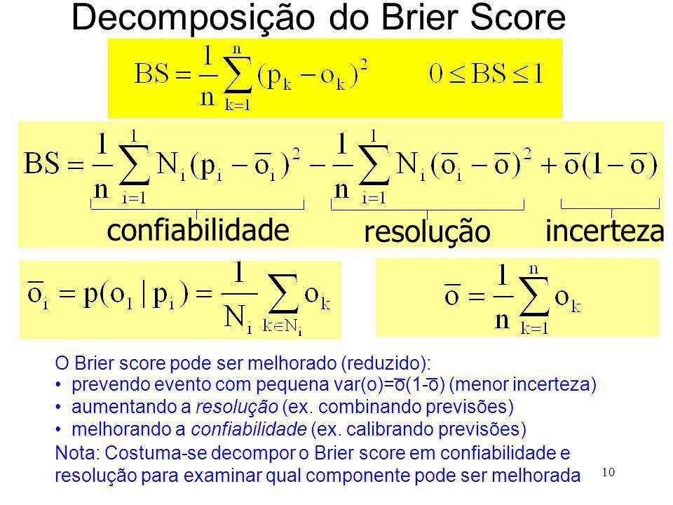 10 Decomposição do Brier Score incerteza confiabilidade resolução O Brier score pode ser melhorado (reduzido): prevendo evento com pequena var(o)=o(1-o) (menor incerteza) aumentando a resolução (ex.