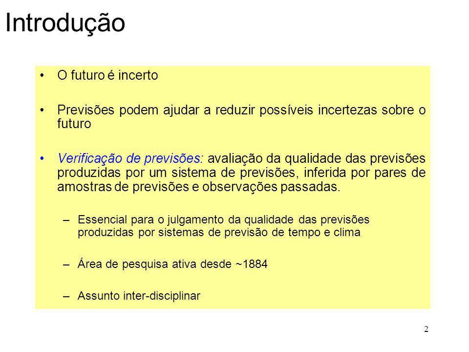 2 Introdução O futuro é incerto Previsões podem ajudar a reduzir possíveis incertezas sobre o futuro Verificação de previsões: avaliação da qualidade