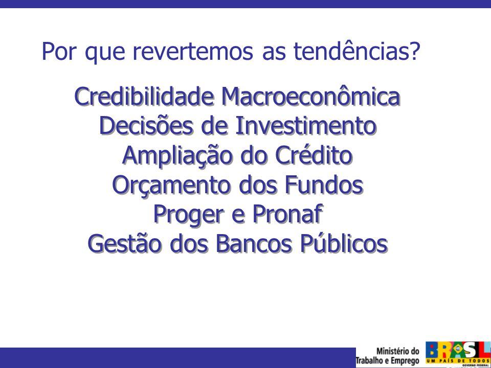 MINISTÉRIO DO TRABALHO E EMPREGO Por que revertemos as tendências? Credibilidade Macroeconômica Decisões de Investimento Ampliação do Crédito Orçament