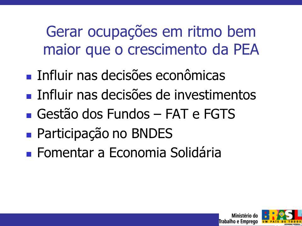 MINISTÉRIO DO TRABALHO E EMPREGO Gerar ocupações em ritmo bem maior que o crescimento da PEA Influir nas decisões econômicas Influir nas decisões de i
